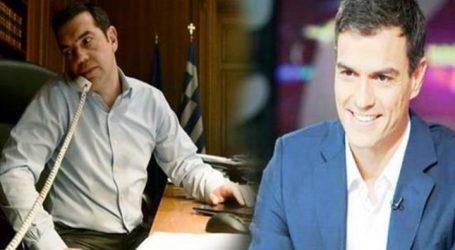 Τηλεφωνική επικοινωνία Τσίπρα – Σάντσεθ – Στήριξη για το χρέος ζήτησε ο Έλληνας Πρωθυπουργός