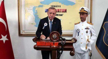 Πρόκληση: Ο Ερντογάν μπροστά σε χάρτη «ζητώντας» το μισό Αιγαίο